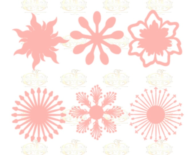 Set 4 SVG Png Dxf -6 different Flat Center for Paper Flowers- MACHINE use Only DIY and Handmade Giant Paper Flower Templates