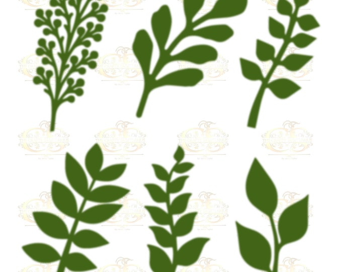 Set 33 Svg Png Dxf 6 different Leaves for Giant Paper Flowers MACHINE use Only Cricut and Silhouette DIY and Handmade Leaves Templates