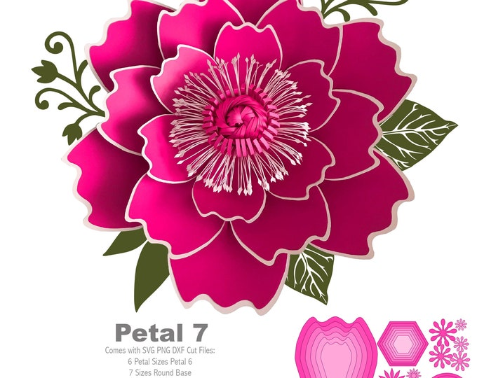 SVG PNG DXF Petal 7 Cut Files for Cutting Machines like Cricut n Cameo + 2 Designs Flat Center + Round n Hexagon Bases no resizing needed