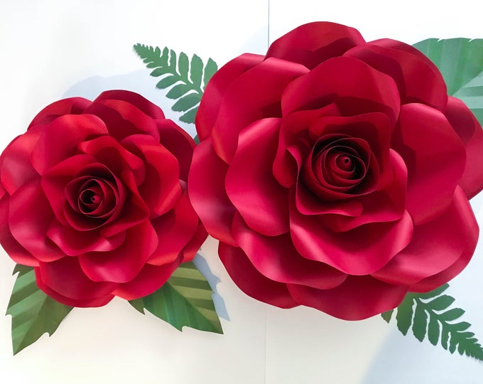 """Paper Flowers - PDF COMBO of Large and Medium Rose Paper Flower Template- DIY Trace and Cut -Center Bud included (15-16"""" and 19-21"""")"""