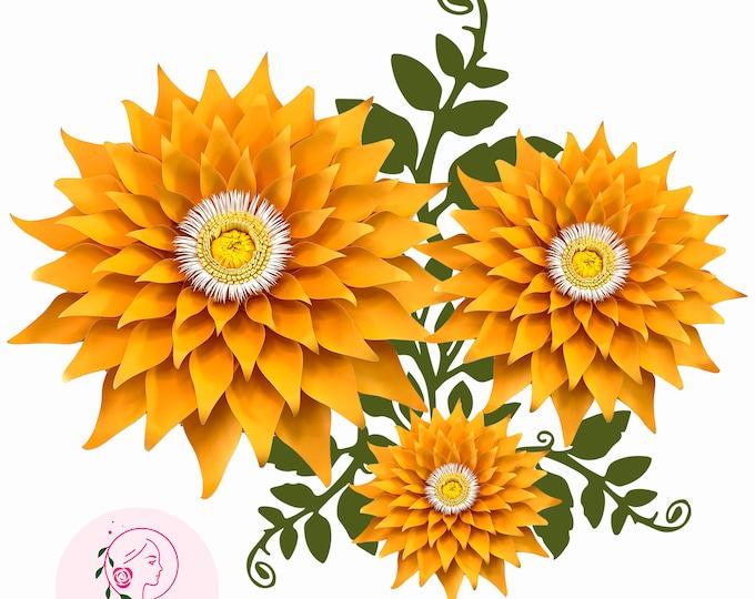 Paper Flowers -Paper Flowers- SVG Petal 89 (Dahlia) Paper Flower Template - DIY Cricut and Silhouette machines ready