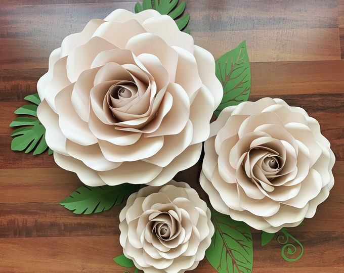 "PDF Full Size Rose 6 Large Medium and Small Paper Flower Template DIY Printable Trace and Cut -Center Bud included (8"", 14"" and 19"")"