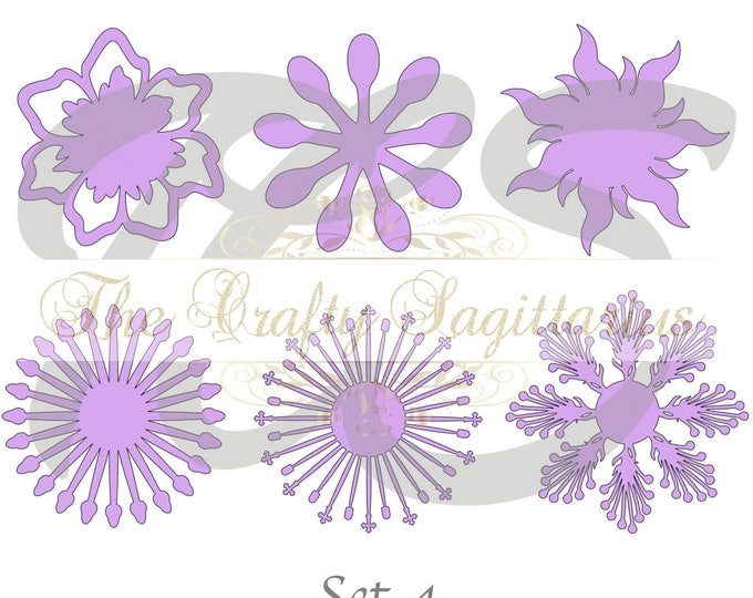 SVG Set 4-6 different Flat Center for Paper Flowers- MACHINE use Only (Cricut and Silhouette) DIY and Handmade Giant Paper Flower Templates