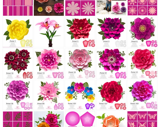 Business 2.0 The Ultimate Paper Flower Templates Package Kit You need To Start your own Paper Flower Business or DIY your own wedding decor