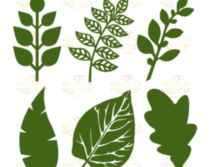 Set 3 Svg Png Dxf 6 different Leaves for Paper Flowers- MACHINE use Only (Cricut and Silhouette) DIY and Handmade Leaves Templates