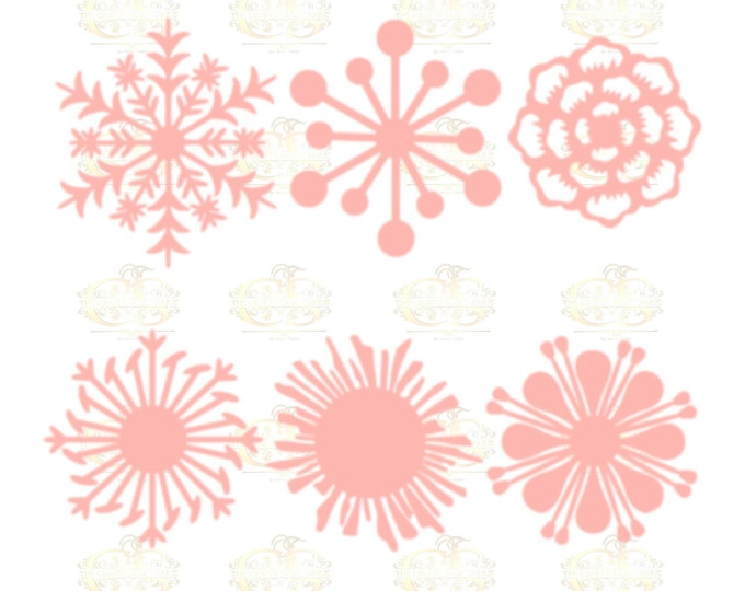 Set 3 SVG Png Dxf -6 different Flat Center for Paper Flowers- MACHINE use Only DIY and Handmade Giant Paper Flower Templates