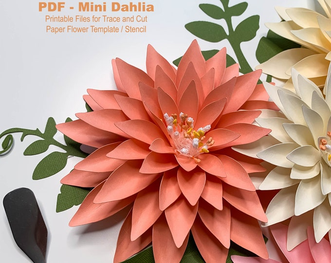 Paper Flowers PDF Printable Trace and Cut Digital Instant Download Files Mini Dalia idea for small arrangements and bouquets