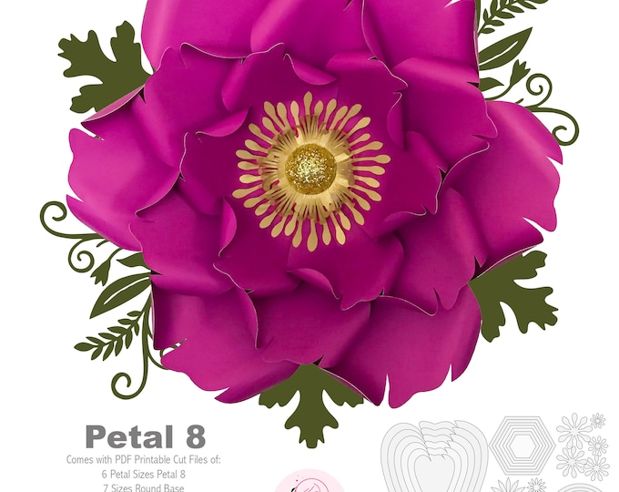PDF Petal 8 Printable Paper Flowers Template with Base and flat centers instant download for trace n cut for wedding and events decorations