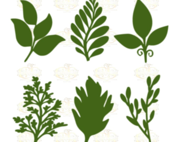 Set 30 Svg Png Dxf 6 different Leaves for Giant Paper Flowers MACHINE use Only Cricut and Silhouette DIY and Handmade Leaves Templates