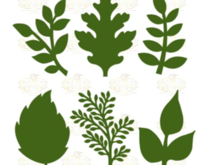 Set 15 Svg Png Dxf 6 different Leaves for Paper Flowers- MACHINE use Only (Cricut and Silhouette) DIY and Handmade Leaves Templates