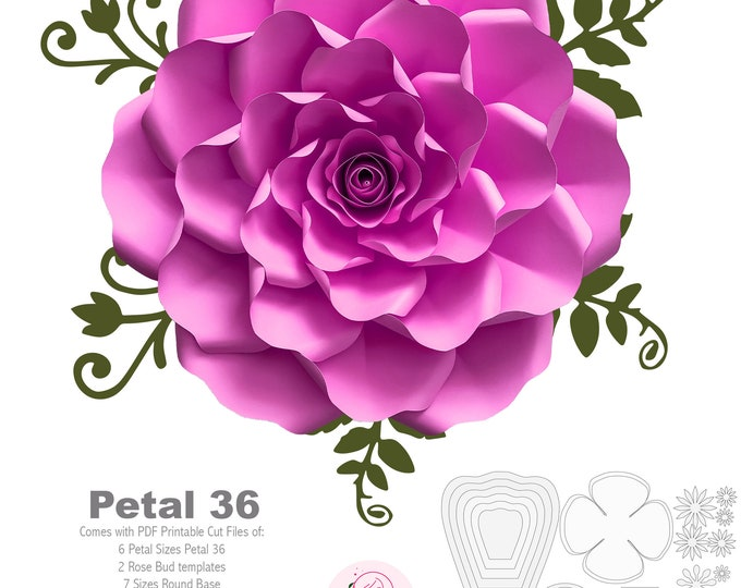 PDF Petal 36 Paper Flowers template w/ Rose Bub Center, printable for Cut & Trace Stencil  DIY 19-23 inches Rose for wedding backdrop decor