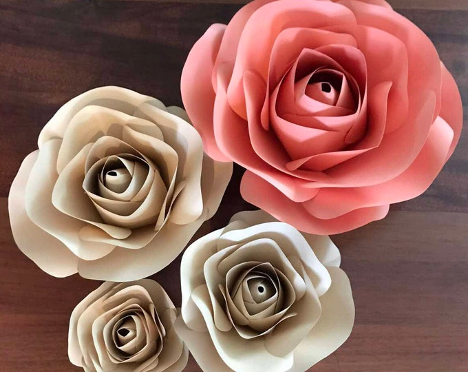 Paper Flowers -PDF Flower Center Template, Package of 2 Sizes, Digital Version - Rose - 3 and 5 Inches Diameter