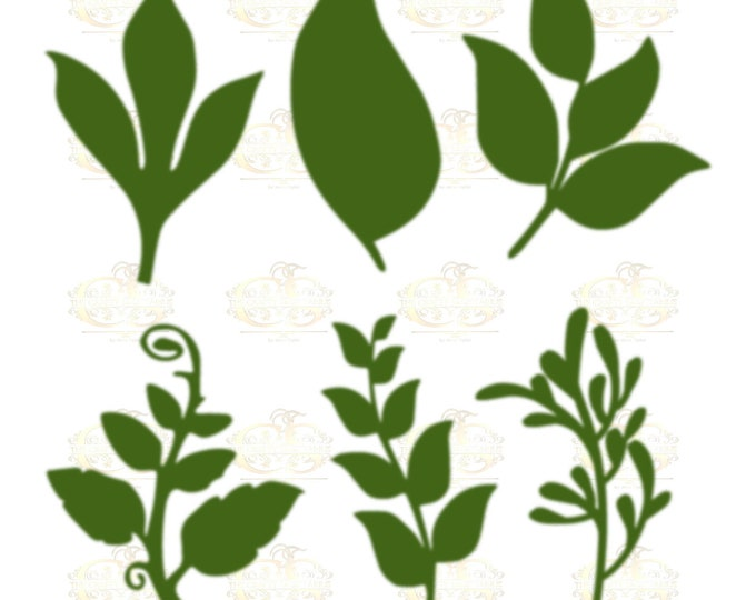 Set 25 Svg Png Dxf 6 different Leaves for Giant Paper Flowers MACHINE use Only Cricut and Silhouette DIY and Handmade Leaves Templates