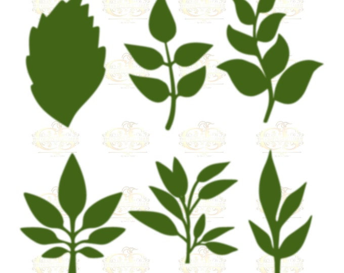 Set 29 Svg Png Dxf 6 different Leaves for Giant Paper Flowers MACHINE use Only Cricut and Silhouette DIY and Handmade Leaves Templates