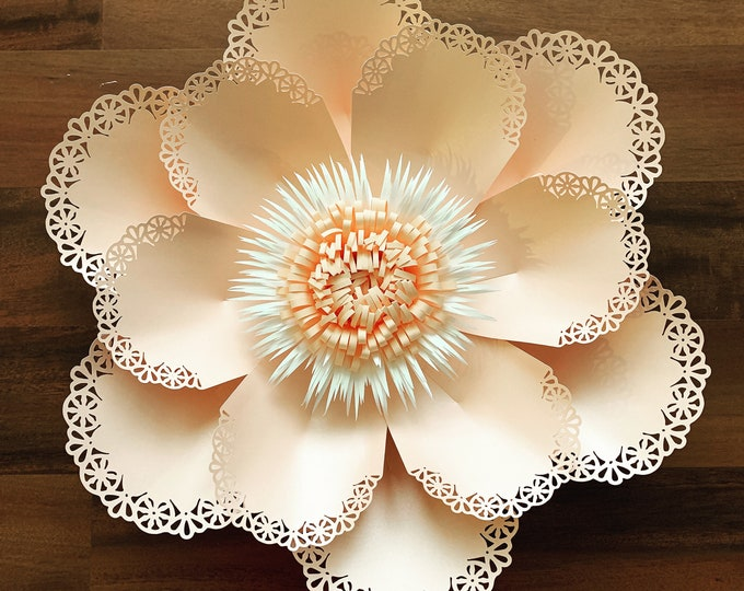 SVG PNG DXF Lace Paper Flower Template 11 for cutting machines 2 Component Centers Included Diy Giant Paper Flowers Origami Wedding Backdrop