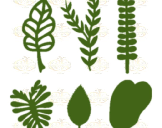 Set 1 Svg PNG DXF 6 different Leaves for Paper Flowers Machine use Only Cricut and Silhouette DIY and Handmade Leaves Templates