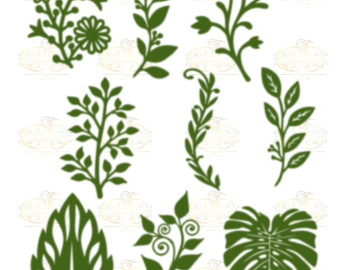 Set 12 SVG PNG DXF 9 different Leaves for Paper Flowers Machine use Only Cricut and Silhouette Diy and Handmade Leaves Templates
