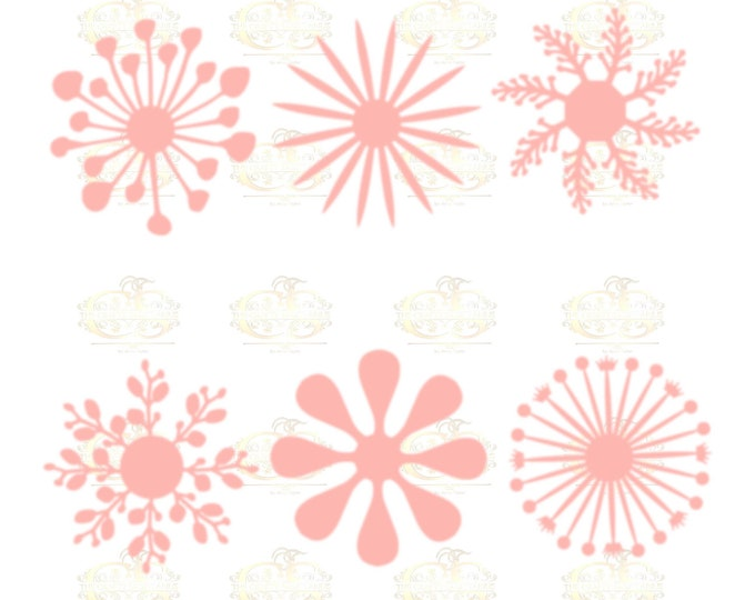 Set 1 SVG Png Dxf -6 different Flat Center for Paper Flowers- MACHINE use Only DIY and Handmade Giant Paper Flower Templates