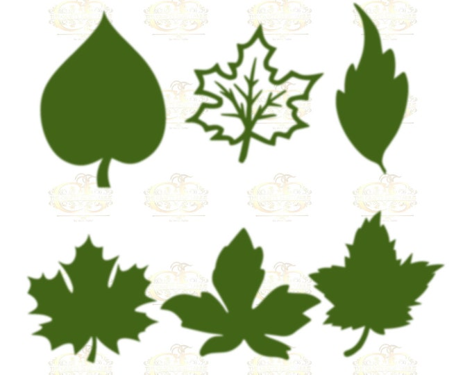 Set 19 Svg Png Dxf 6 different Leaves for Paper Flowers- MACHINE use Only (Cricut and Silhouette) DIY and Handmade Leaves Templates