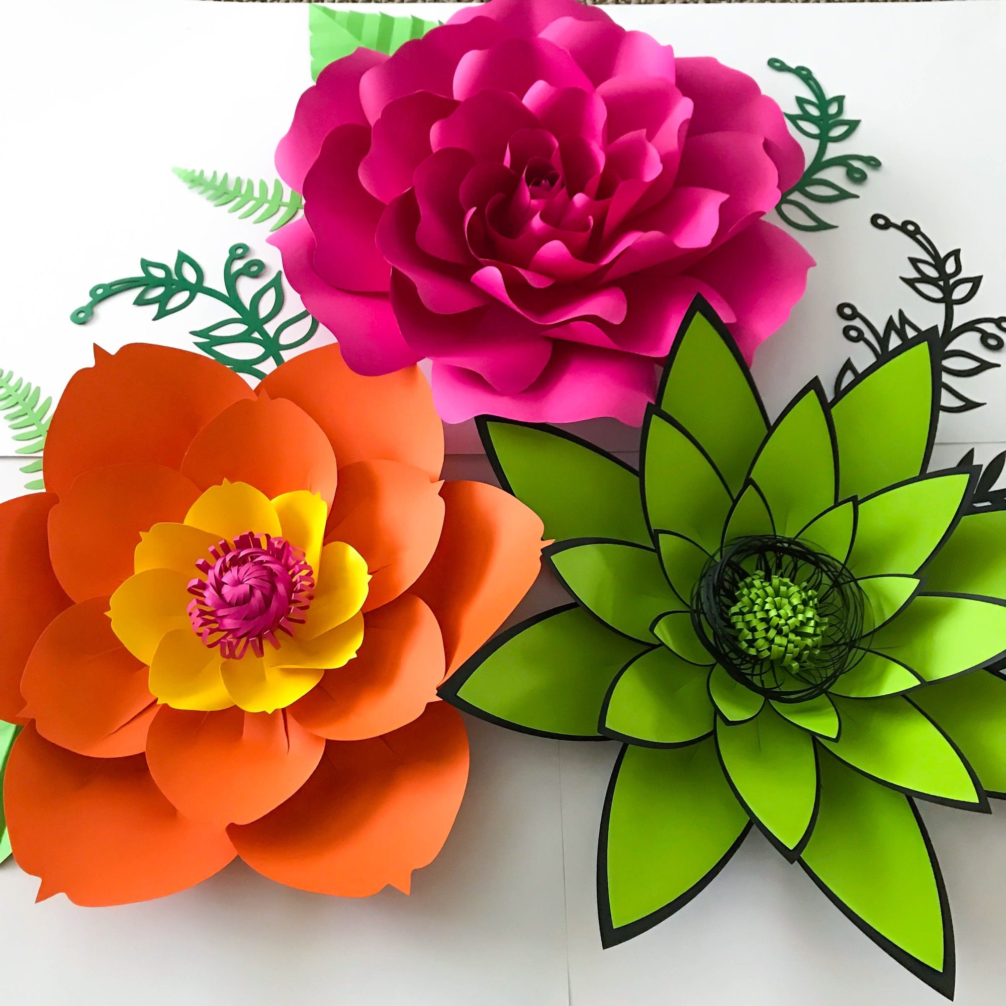pdf petal 4 paper flowers template with base  u0026 flat center printable trace and cut file for diy