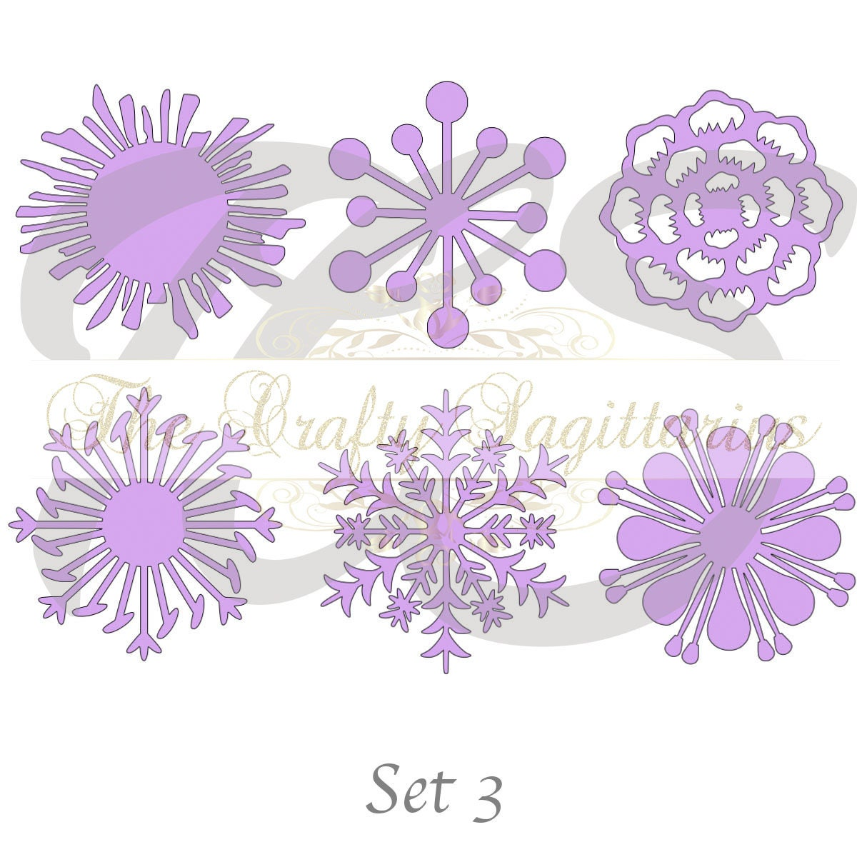 Svg Set 3 6 Different Flat Center For Paper Flowers Machine Use