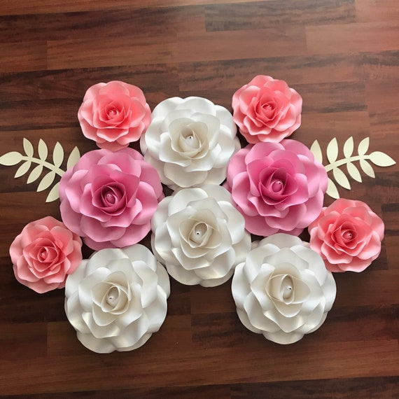 svg combo of small and mini rose paper flower template diy