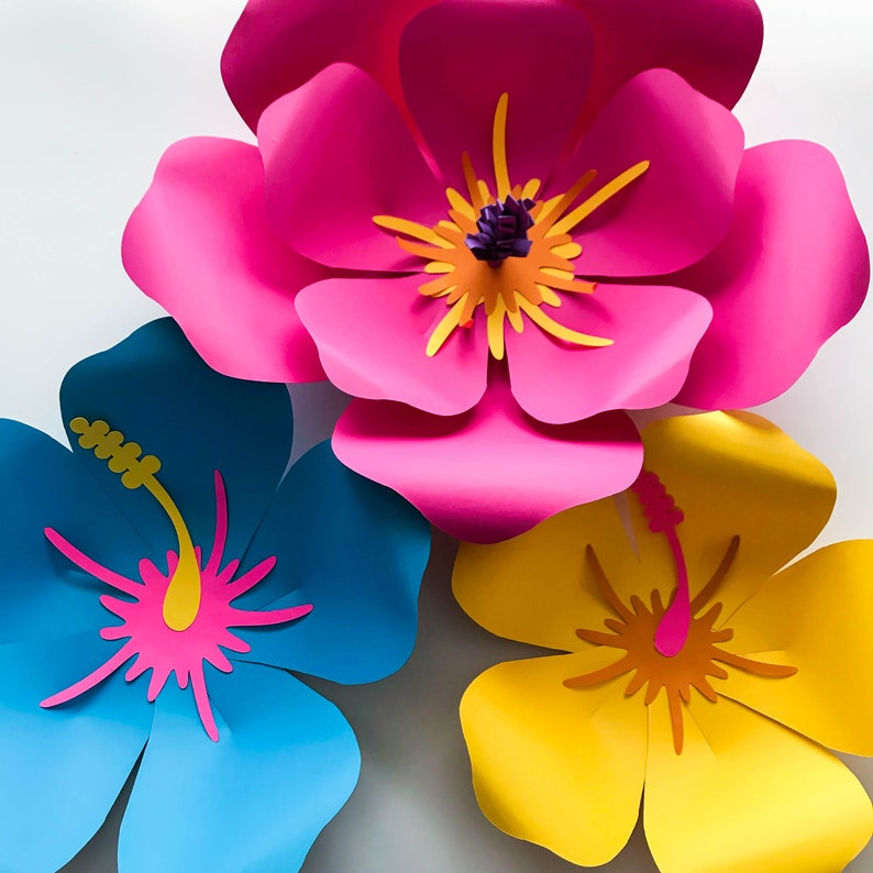Svg Dxf Png Petal 101 Hibiscus Paper Flower Template Diy Cricut And Silhouette Machines Ready 2 Center Components Included Paper Flowers