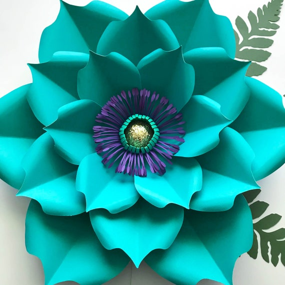 pdf petal 5 paper flower template printable for trace and cut