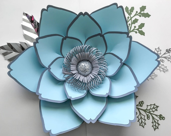 PDF Petal #23 Paper Flower template w/ Rose Bub Center, Digital Version, Original  by Annie Rose, Cut & Trace Stencil. DIY 10-23 inches Rose