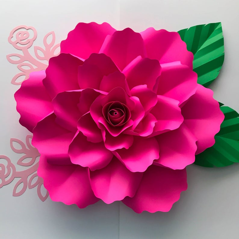 Paper Flowers Svg Petal 99 With Clover Rose Center Elegant Rose Flower Template With Center Cricut And Silhouette Ready