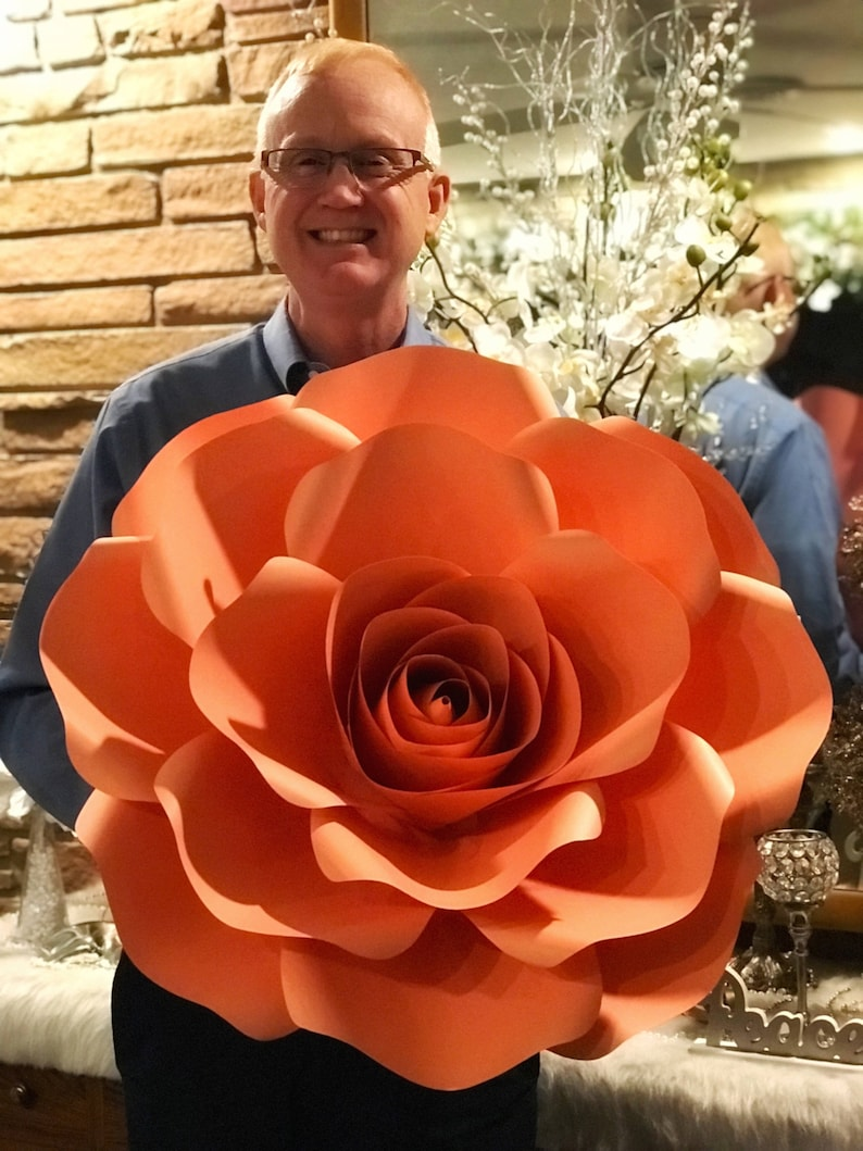 Paper Flowers Svg Extra Large Rose Paper Flower Template Cricut And Silhouette Machines Ready Center Bud Included 12x12 Or 11x17 Paper