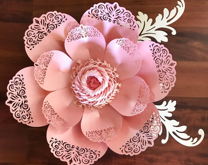 SVG PNG DXF Lace Paper Flower Template #8 for cutting machines 2 Component Centers Included Diy Giant Paper Flowers Origami Wedding Backdrop