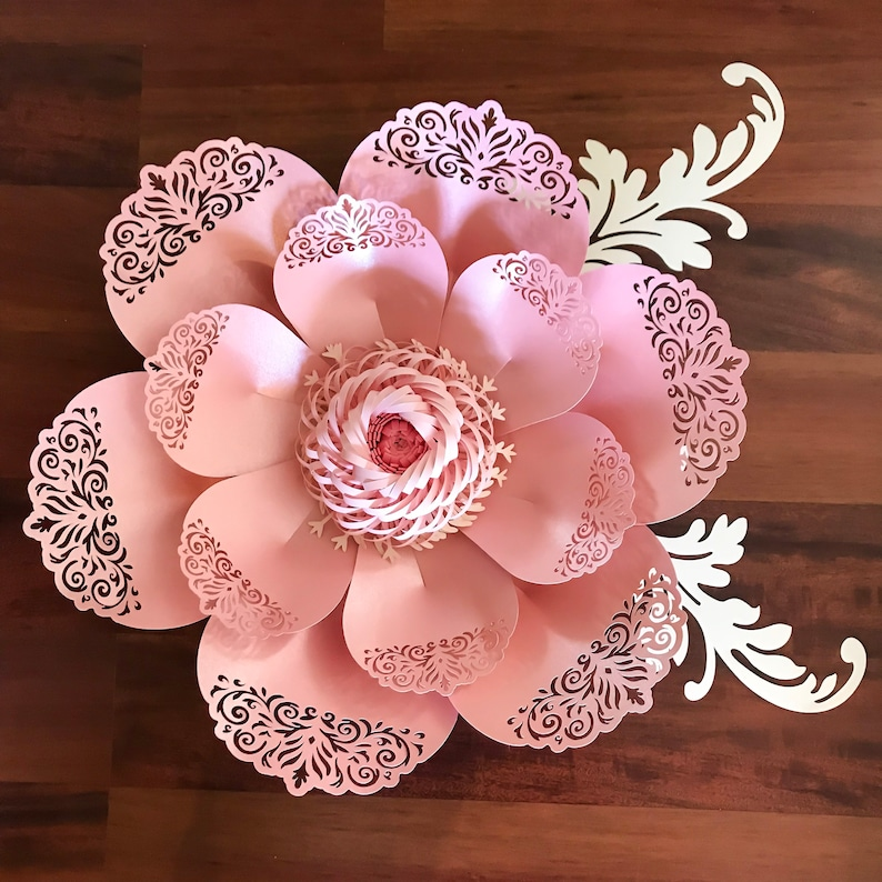 svg png dxf lace paper flower template 8 for cutting