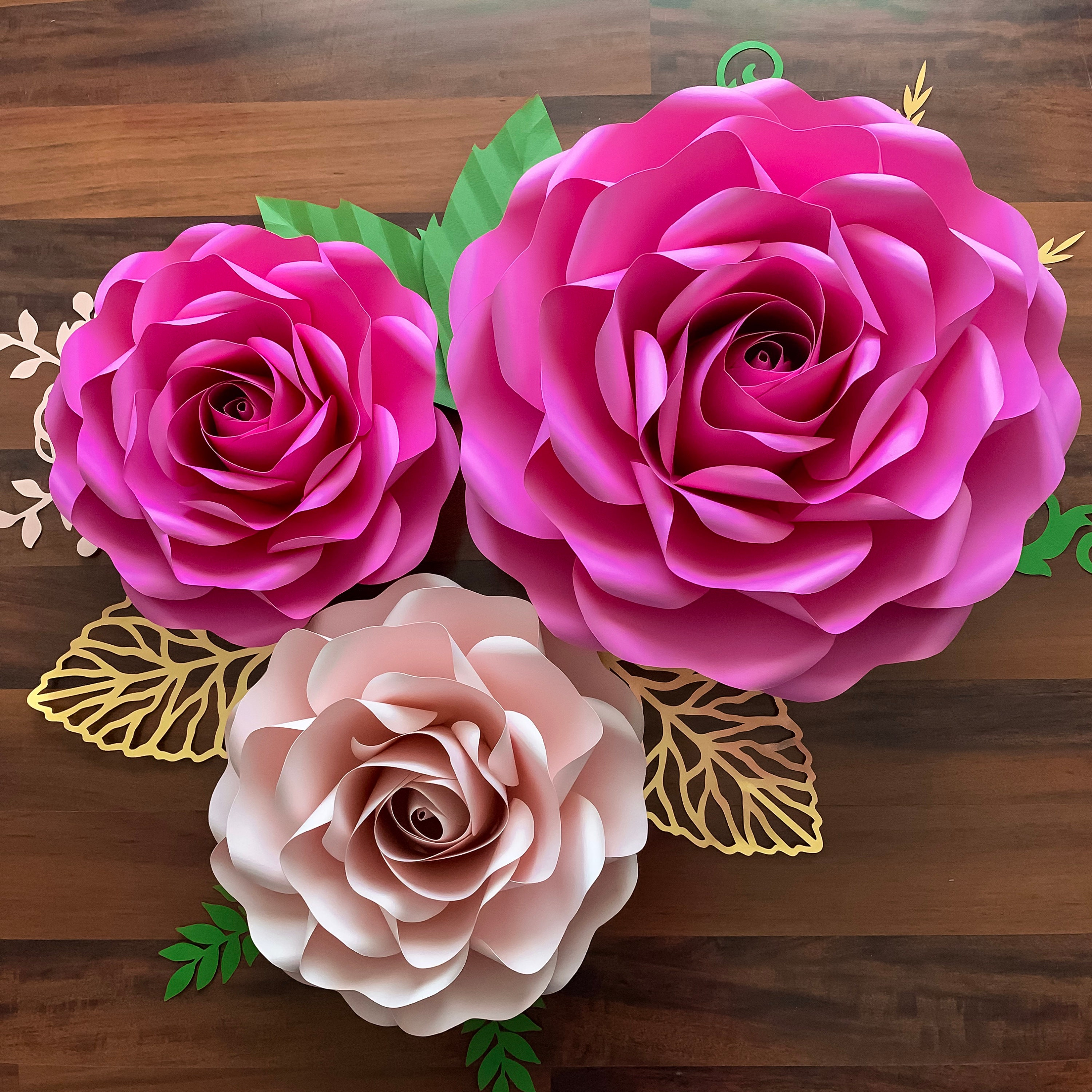 pdf paper flowers full sizes of large and medium roses paper