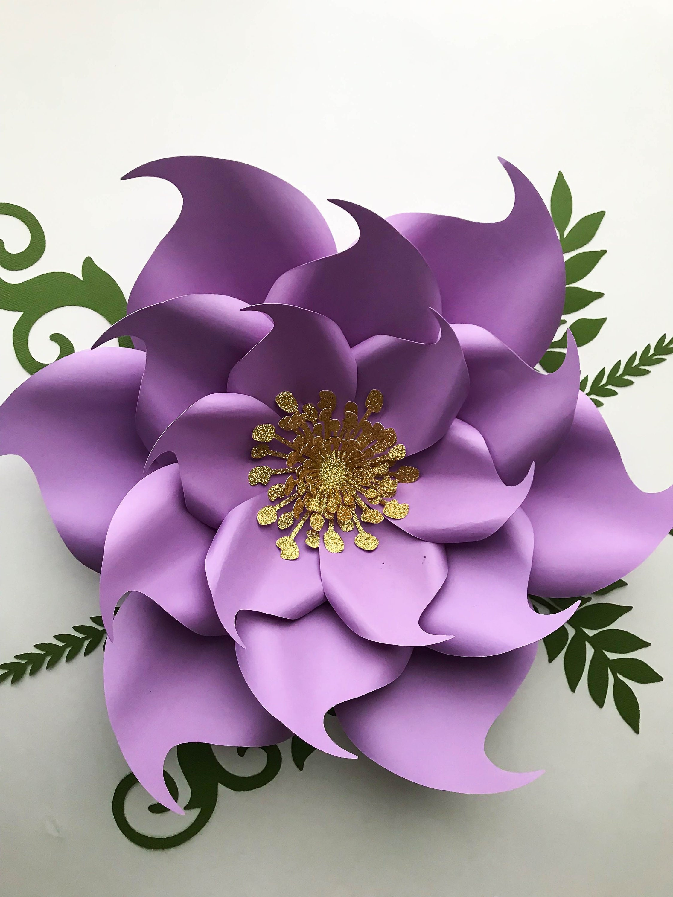 PDF Petal 9 Paper Flowers Template with Base & Flat Center ...