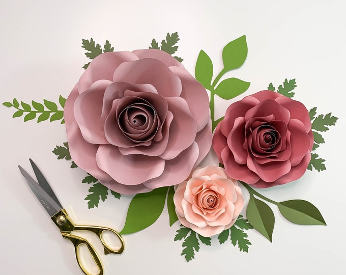 """PDF PRINTABLE TEMPLATES of Small Mini & Nano Rose Paper Flower Template- Trace and Cut Files Center Bud included 3"""", 5"""", 8"""" Wedding Decor"""