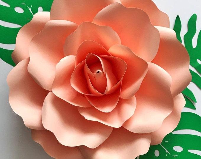 Paper Flowers -PDF Medium Rose 8.5x11 inches fit Petal Template, Digital Version - 13 to 14 Inches Diameter