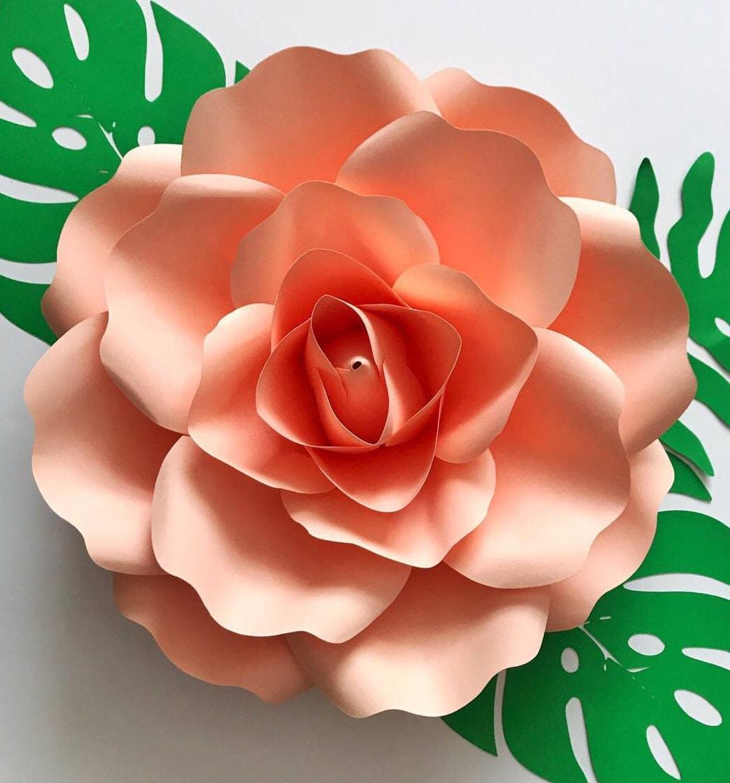 Paper Flowers Pdf Medium Rose 85x11 Inches Fit Petal Template