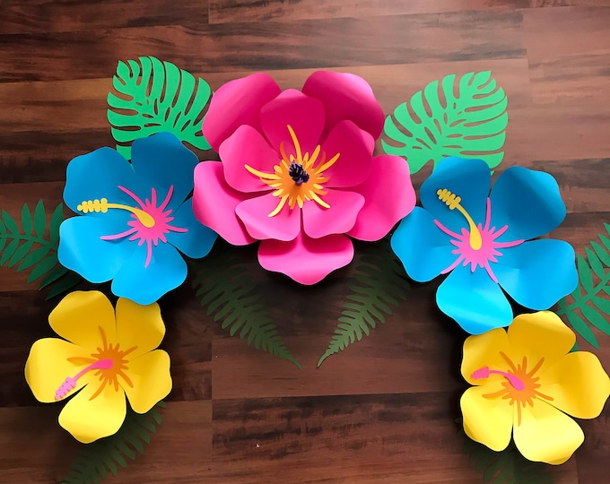 SVG DXF PNG Petal 101 (Hibiscus) Paper Flower Template Diy Cricut and Silhouette machines ready 2 center components included + Pentagon Base