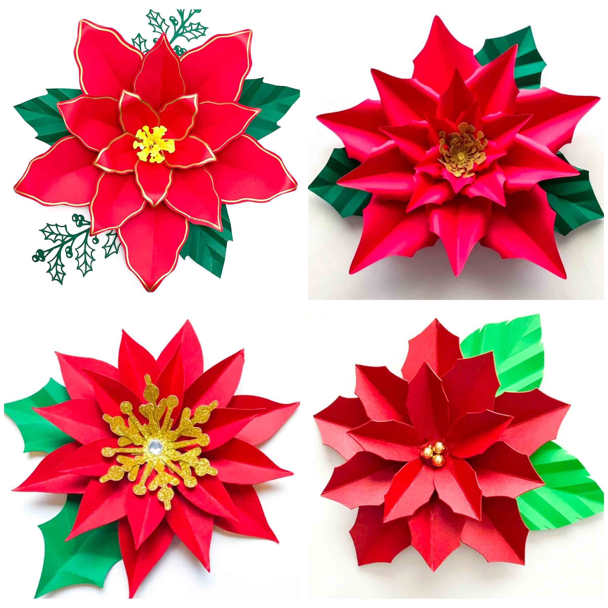 Svg Png Dxf 4 Designs Poinsettia For Cricut And Cameo