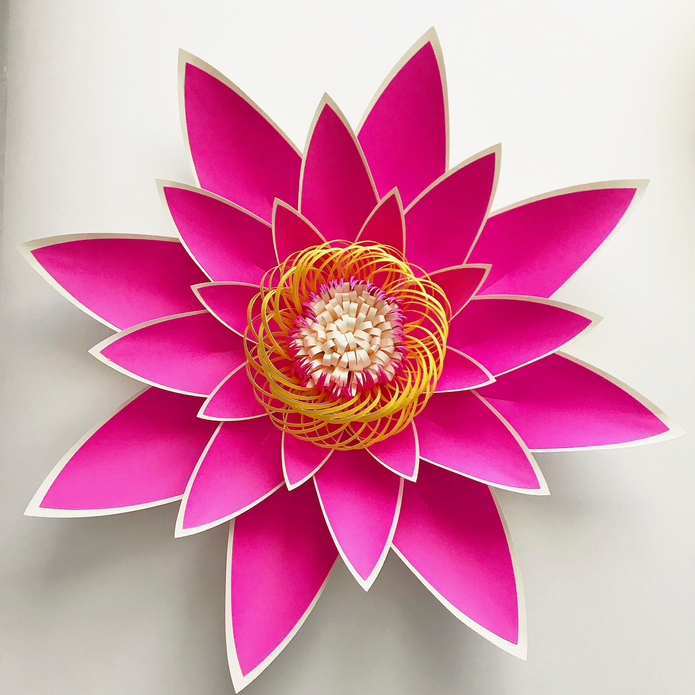 Plantilla de flor de papel PDF pétalo 4 con Base y plano