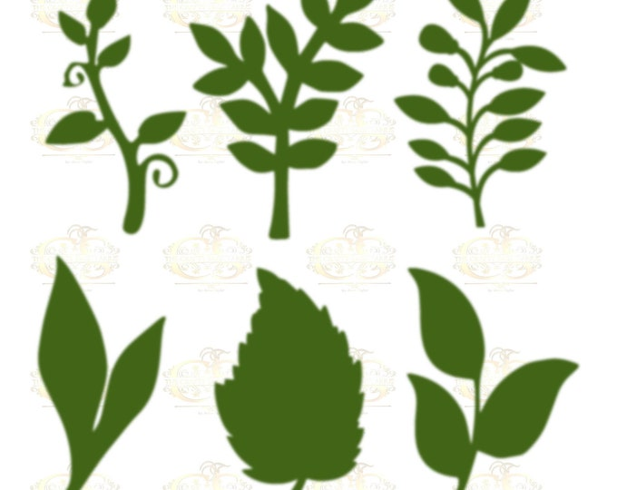 Set 31 Svg Png Dxf 6 different Leaves for Giant Paper Flowers MACHINE use Only Cricut and Silhouette DIY and Handmade Leaves Templates