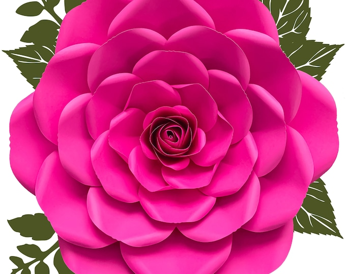 PDF Petal 23 Printable Giant Paper Flower for DIY Project Comes with 6 Sizes Petals + Rose Bud + Bases + Flat Centers for weddings & events