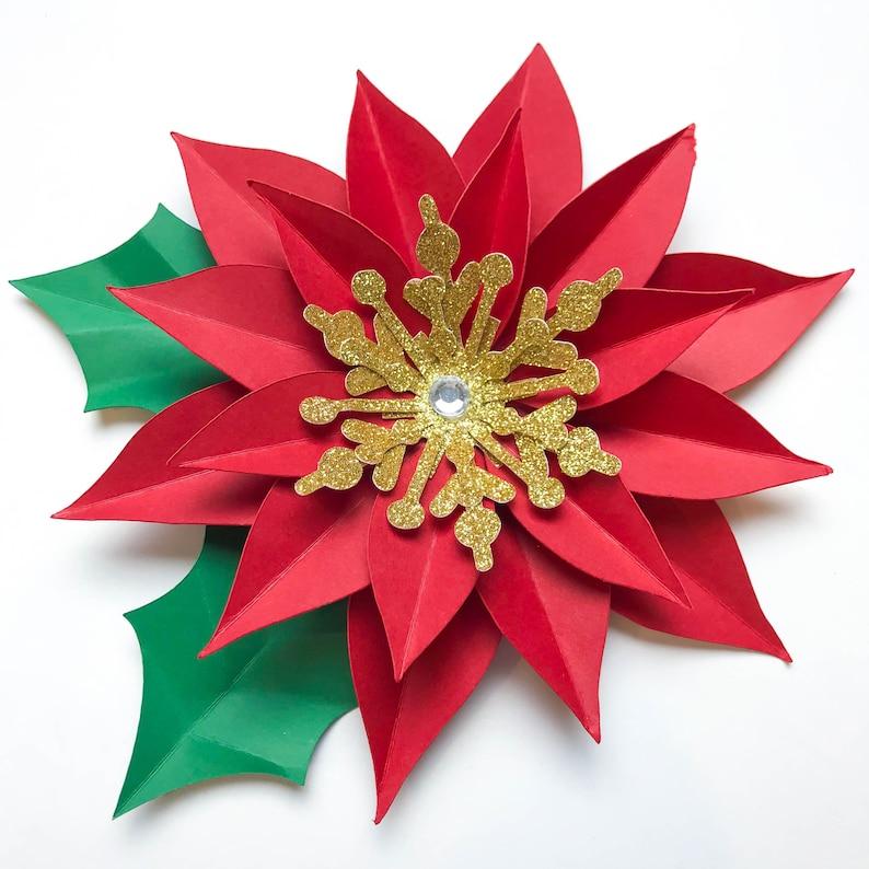 Pdf Navidad Poinsettia Papel Flores Digital En Version Etsy