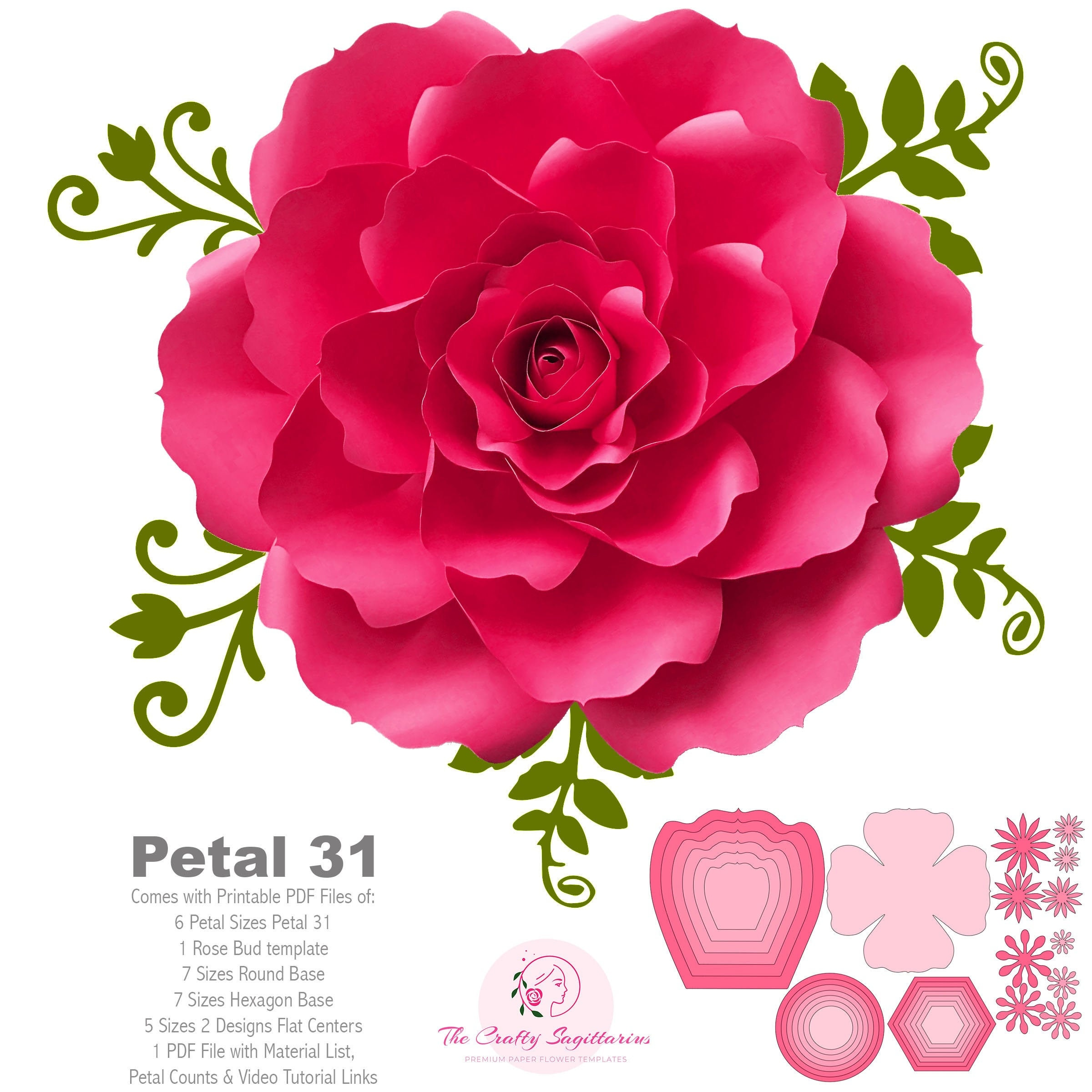 Svg Png Dxf Petal 31 Cut Files For Cutting Machines Diy Paper Flowers Templates With Rose Bud And Flat Center To Make Unlimited Open Rose