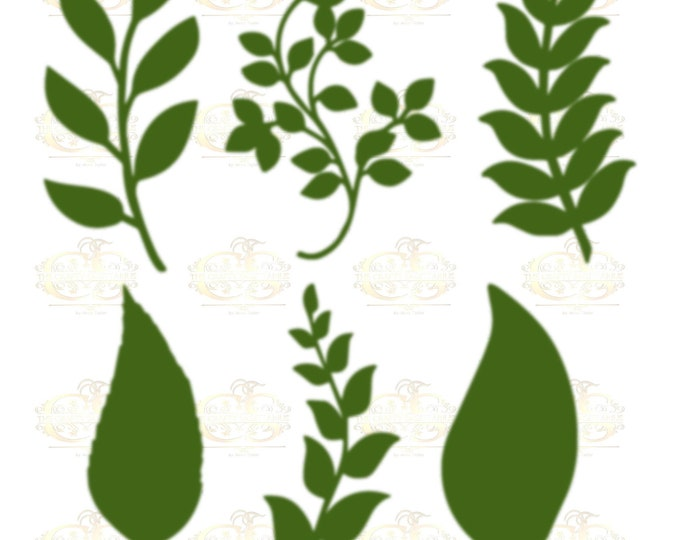 Set 23 Svg Png Dxf 6 different Leaves for Giant Paper Flowers MACHINE use Only Cricut and Silhouette DIY and Handmade Leaves Templates