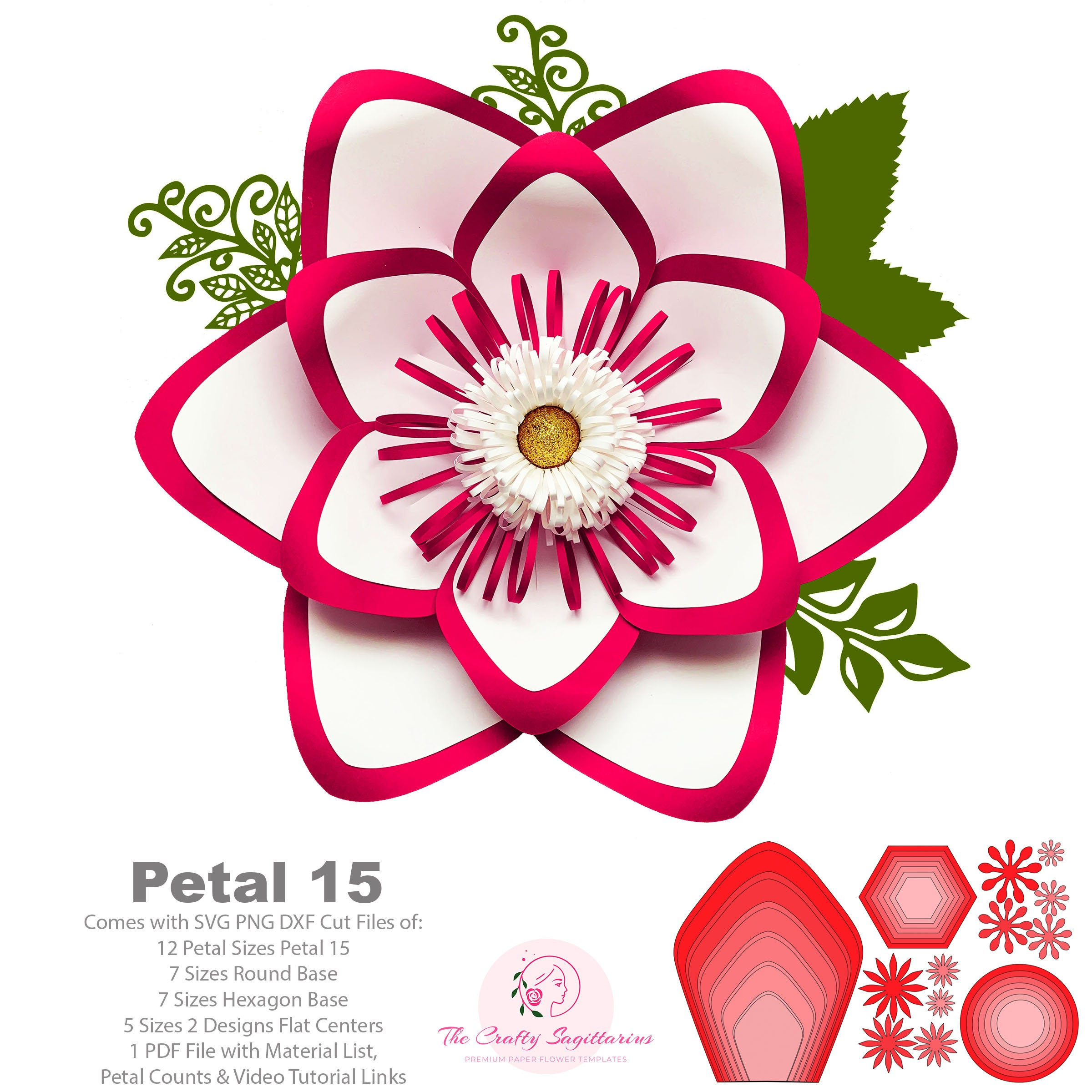 Svg Png Dxf Petal 15 Paper Flowers Template Base Flat Centers Included Digital Cut Files For Cricut N Silhouette Ready Instant Download