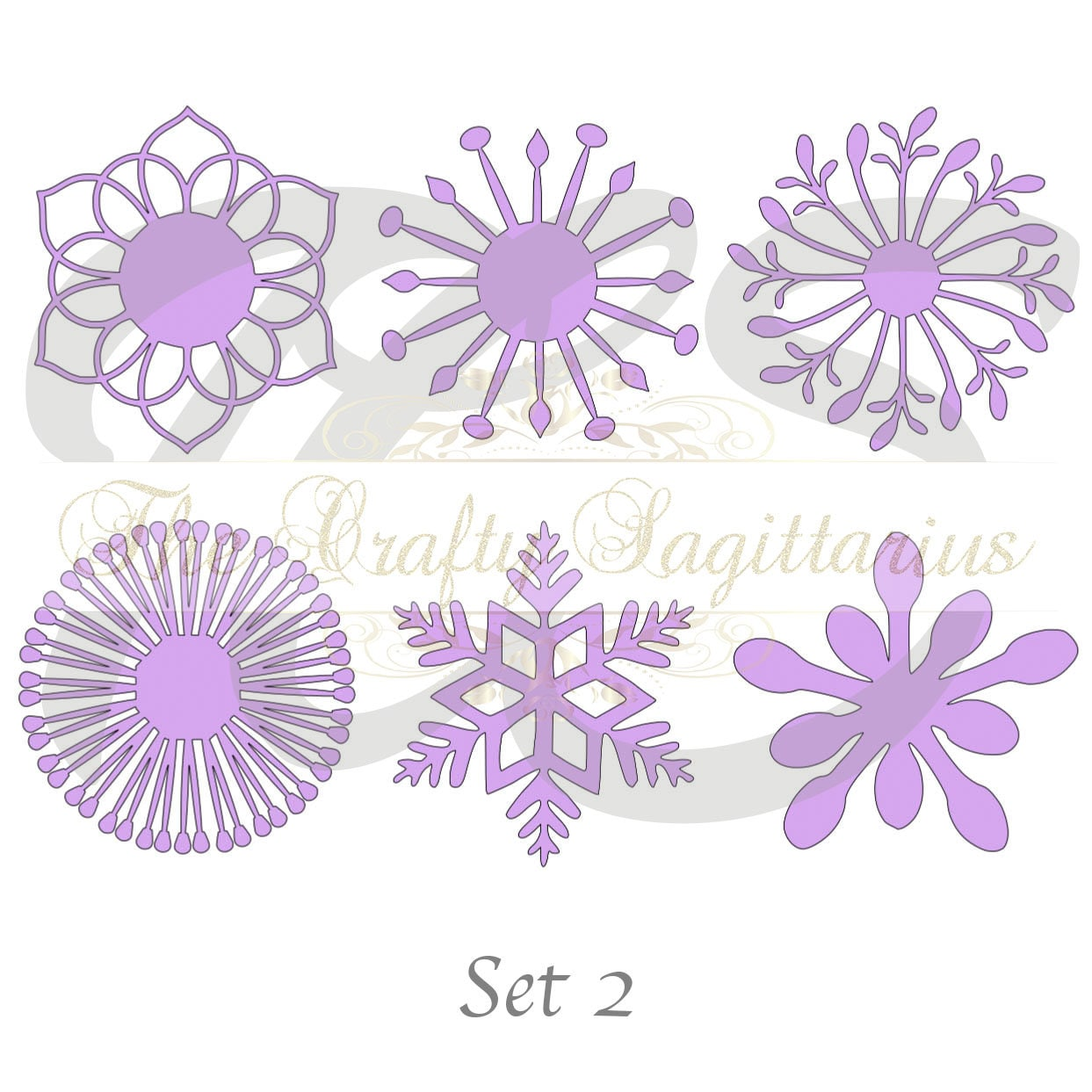 Svg Set 2 6 Different Flat Center For Paper Flowers Machine Use