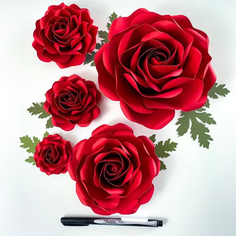 Svg Paper Flowers Tiny Rose 6 Template In Multiple Sizes Digital Svg Dxf Version Cricut And Silhouette Machine Ready 2 25 6 Roses