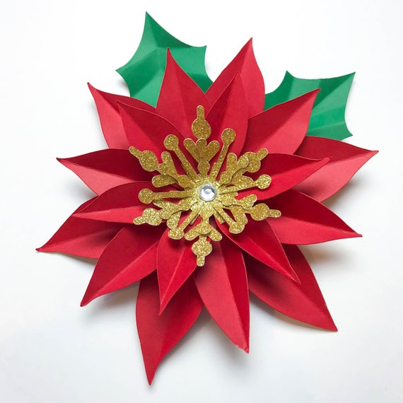 Paper flowers svgpng christmas poinsettia paper flower etsy paper flowers svgpng christmas poinsettia paper flower template diy cricut and silhouette machines ready center included mightylinksfo